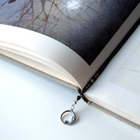 Celestial beaded bookmark, book thong - sterling silver moon and stars, handmade glass beads