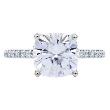 Cushion Moissanite 4 Prongs Diamond Accent Ice Solitaire Ring