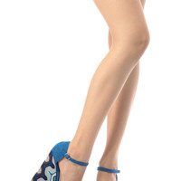 Blue Faux Suede Embroidered Wedges
