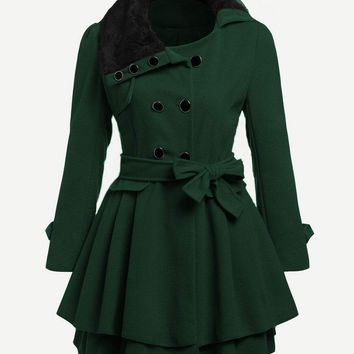 Green Faux Fur Collar Double Breasted Trench Coat