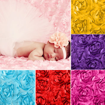 3D Rose Fabric Blanket Swaddling Baby Newborn Photography Props Backdrops Floral Satin Rosette Fabric