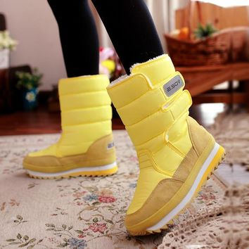 Free shipping 2016 new winter thickening women's shoes snow boots thermal shoes women