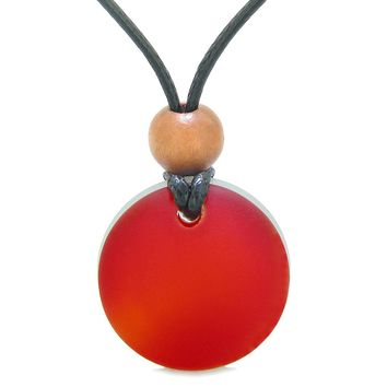 Reversible Full Moon Frosted Sea Glass Cherry Red and Ocean Foam Amulet Good Luck Life Energy Necklace