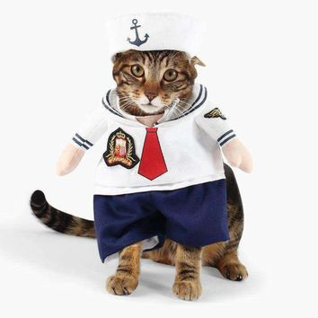 Cat/Dog Costume Suit Sailor Cosplay Clothes For Small Medium Cats Dogs Puppy Party Halloween Jacket Coat Clothing