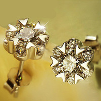 925 Sterling Silver Jewelry Super Flash Star Stud Earrings