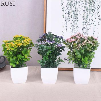 1 Set pearl fruit bonsai artificial plant with plastic vase simulation plant set decoration home table accessories office decor