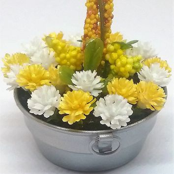 Fairy garden accessories. Fairy garden mini washtub with yellow flowers. Fairy flowers.