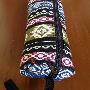 Aztec School Pencil Case Make Up Accessory Zipped Bag Ikat Abstract Tribal Pouch Wallet Boho Clutch Cosmetic Gadget Box Bags Purses Unique
