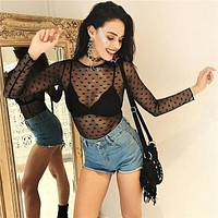 Slim Lace See Through One-piece