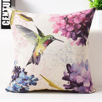 American Style Countryside Ink Flower And Bird Parrot Butterfly Printing Linen Decorative Pillow Cushion For Office Chair