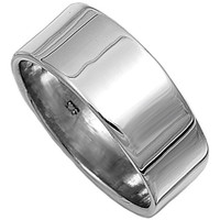 Unisex Plain Sterling Silver Flat Wedding Band Ring - 8mm