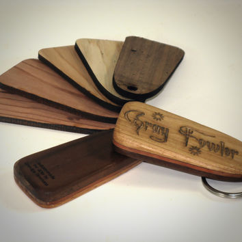 Personalized Key Fob - Select Hardwood, Custom Laser Engraved