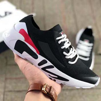 15796d556379 FILA couple mesh breathable knit inner thickening platform sports retro  running shoes black
