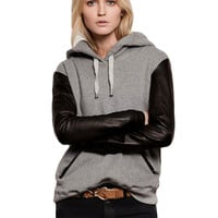 Gray Faux Long Sleeve Fleece Stitching Thick Hooded Coat