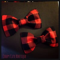Red Lumberjack Plaid Hair Bow/ Bow Tie by Creepy Cute Bootique