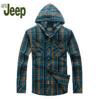 Battlefield Jipu Chun Autumn 2016 new men's Plaid shirt fashion tide hooded long-sleeved shirt AFSJEEP college style sub-shirt72