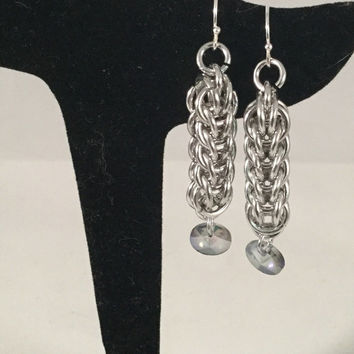 chainmail earrings, Persian weave earrings, chainmail jewelry, crystal disk drop, under 20, gift for her