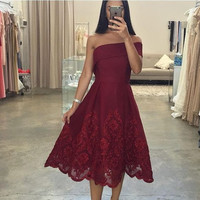 Off the Shoulder Homecoming Dress, Lace Red Homecoming Dress