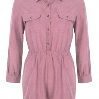 Cheryl Mauve Suede Button Front Playsuit - Womens Suede Playsuits | South Avenue