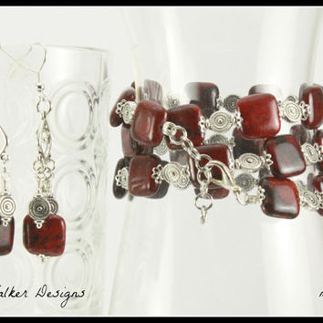 Red Azurite Chyrsocolla Beaded Memory Wire Bracelet and Earrings Set,  mbes1005, One Of A Kind