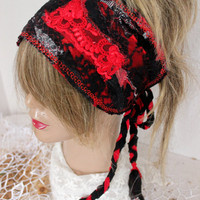 Red Hippie Head, Red Black Head, Wear Red Festival, Red Boho Head, Red Dread Band, Dread Wrap, Black Red hippie, Intergalactic Clothing