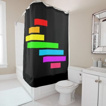 Modern Edgy Colorful Block Brick Rainbow On Black Shower Curtain