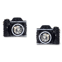 Betsey Johnson Earrings, Black Camera Stud - Fashion Jewelry - Jewelry & Watches - Macy's
