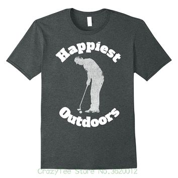 Happiest Outdoors Golfer T-Shirts - Men's Crew Neck Novelty Top Tee