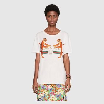 Gucci Women Short Sleeve Pure cotton Round collar Top