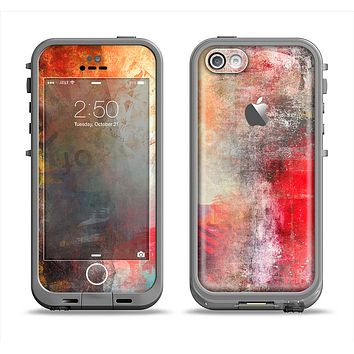 The Grungy Colorful Faded Paint Apple iPhone 5c LifeProof Fre Case Skin Set
