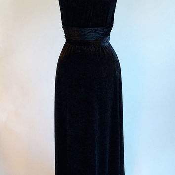 Prom dress, infinity dress, convertible dress, black velvet dress, ball gown, long dress, evening dress, party dress, cocktail dress