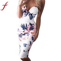 NEW Fashion Women's Dress Printing Floral Sleeveless Spaghetti Strap Midi Bodycon Club sexy Pencil Dress #LSW