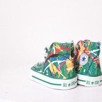 baby green high top splatter painted converse sneakers baby size 2 primary colors