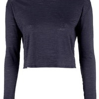 Long Sleeve Crop Top - Navy Blue