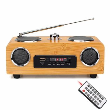 Handmade Tabletop Radio FM Stereo, Multimedia Speaker Classical Receiver USB With MP3 Player