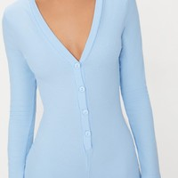 Baby Blue Ribbed Button Detail PJ Romper