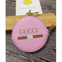 GUCCI Trending Stylish Multicolor Round Leather Zipper Key Pouch Wallet Coin Purse Pink I-MYJSY-BB