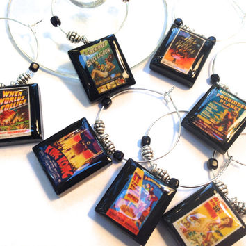 Vintage Sci Fi Movie Posters Custom Scrabble Tile Wine Glass Charms