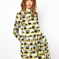 ASOS Africa Shirt Dress In Elephant Print
