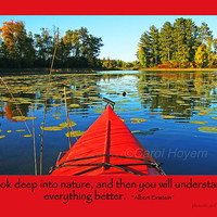 Red Kayak Fall Colors Photo Einstein Quote