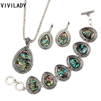 VIVILADY Fashion Natural Abalone Shell Jewelry Sets Women Tibetan Silver Color Necklaces Earrings Bracelets Wedding Bijoux Gift