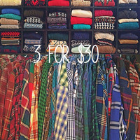 Pick Your Own Vintage Oversize Sweaters Flannels Shirts 3 for 30