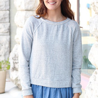Chambray Ruffle Contrast Knit {Grey}