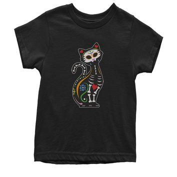 Skeleton Cat Day Of The Dead Youth T-shirt