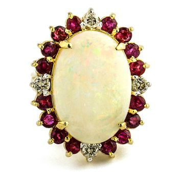 14k Yellow Gold Opal Diamond Ruby Cocktail Ring