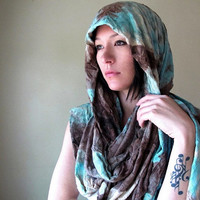 Bohemian Shawl - Tie Dyed Extra Long Chunky Scarf - Oversized Boho Wrap - Seafoam Green, Brown, Taupe