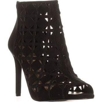 MICHAEL Michael Kors Ivy Bootie Peep Toe Perforated Booties, Black, 5.5 US / 35.5 EU