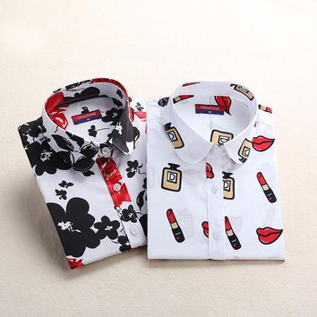 Women Blouse Cotton Blusas Long Sleeve Plus Size Ladies Top Femme Cute Pattern Character Turndown Collar Women Shirt Fashion