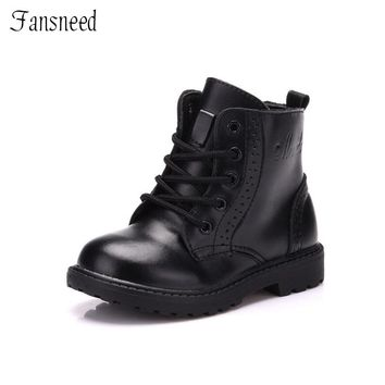 2018 Autumn&Winter Boys and Girls Martin Boots Baby Boys Genuine Leather Boots Child Boys Martin Fashion Shoes