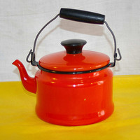 Orange and Black Enamelware Tea Kettle 60s Teapot